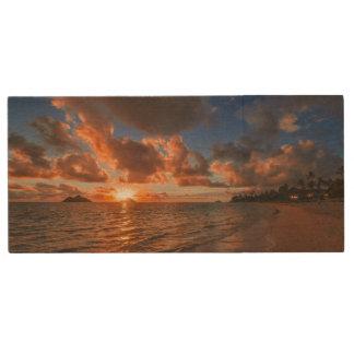 Sunrise At Mokulua Island Wood USB Flash Drive