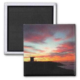 Sunrise at Newport Beach, CA Square Magnet