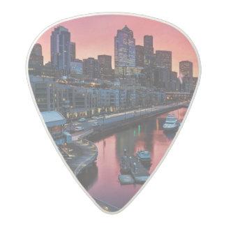 Sunrise at pier 66 looking down on bell harbor acetal guitar pick