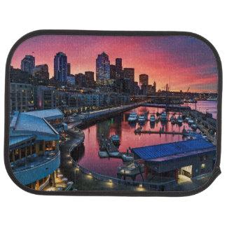 Sunrise at pier 66 looking down on bell harbor floor mat