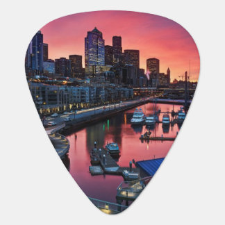 Sunrise at pier 66 looking down on bell harbor guitar pick