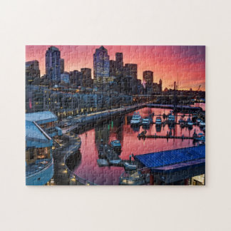 Sunrise at pier 66 looking down on bell harbor jigsaw puzzle