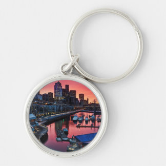 Sunrise at pier 66 looking down on bell harbor Silver-Colored round key ring