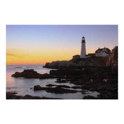 Sunrise at Portland Head Lighthouse Posters