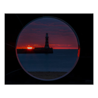 Sunrise at Roker Lighthouse Print/Postage Poster