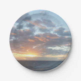 Sunrise at Sea I Pastel Seascape Paper Plate