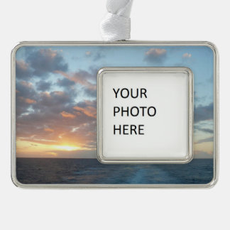 Sunrise at Sea I Pastel Seascape Silver Plated Framed Ornament