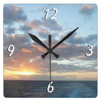 Sunrise at Sea I Pastel Seascape Square Wall Clock