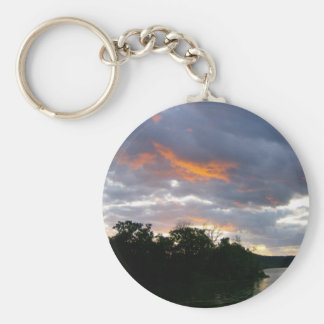 Sunrise at the River Basic Round Button Key Ring