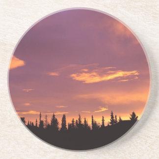 Sunrise Boreal Forest Alaska Drink Coaster