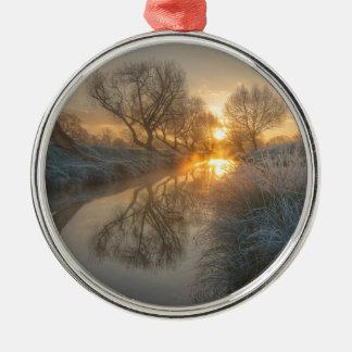 Sunrise burns off the early morning mist christmas ornament