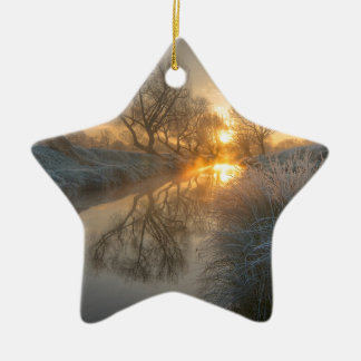 Sunrise burns off the early morning mist christmas ornament