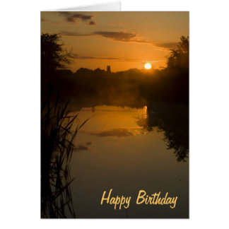 Sunrise by a lake Birthday Card