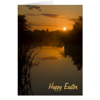 Sunrise by a lake Easter Card