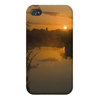 Sunrise by a lake iPhone 4 cover