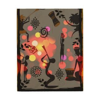"""""""SUNRISE CELEBRATION"""" 8 x 10 AFRICAN ART ON WOOD Wood Canvases"""