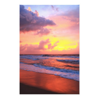 Sunrise clouds over Atlantic surf and beach Photo Art