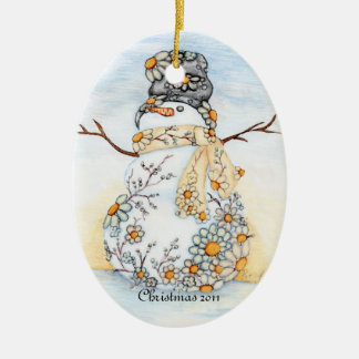 Sunrise Daisy Snowman Ornament