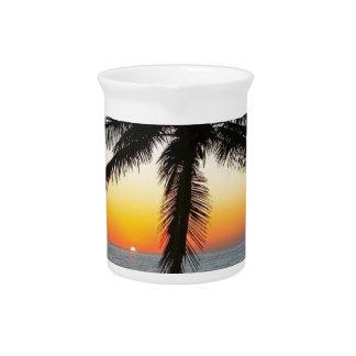 Sunrise Dawn Daybreak Palm Tree Sky Sand Beach Pitcher