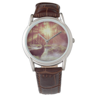 Sunrise Deer in Woods Men's Leather Watch