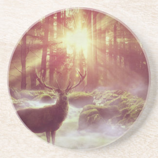 Sunrise Deer in Woods Sandstone Beverage Coaster