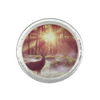 Sunrise Deer in Woods Silver Ring