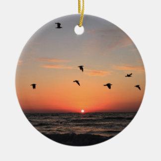 Sunrise Flight Round Ceramic Decoration