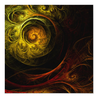 Sunrise Floral Red Abstract Art 13 Cm X 13 Cm Square Invitation Card