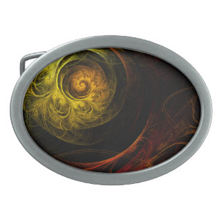 Sunrise Floral Red Abstract Art Belt Buckle