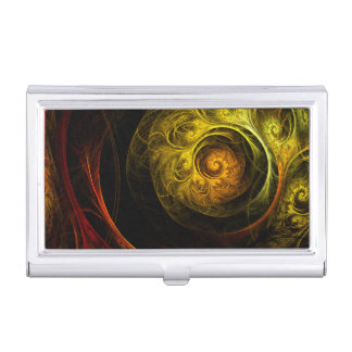 Sunrise Floral Red Abstract Art Business Card Holder