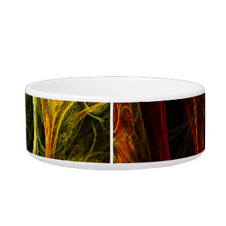 Sunrise Floral Red Abstract Art Cat Bowl
