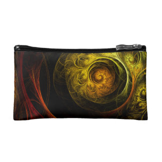 Sunrise Floral Red Abstract Art Cosmetic Bags