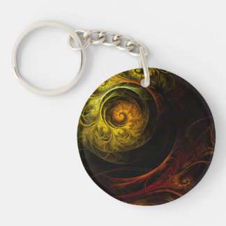 Sunrise Floral Red Abstract Art Key Ring