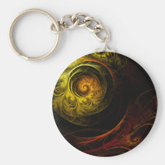 Sunrise Floral Red Abstract Art Keychain