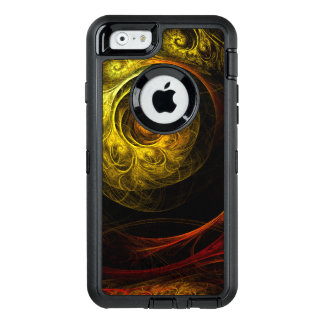 Sunrise Floral Red Abstract Art OtterBox Defender iPhone Case