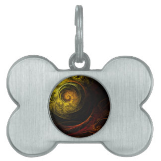 Sunrise Floral Red Abstract Art Pet Name Tag