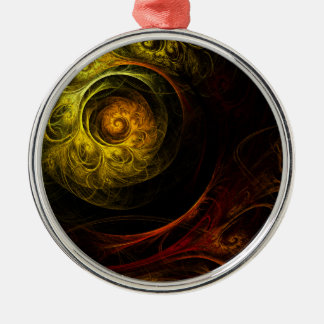 Sunrise Floral Red Abstract Art Round Christmas Ornament