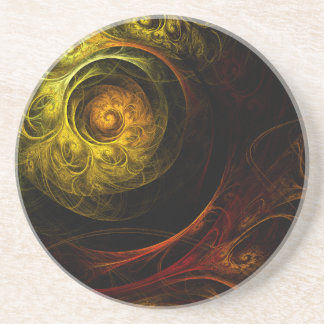Sunrise Floral Red Abstract Art Sandstone Coaster