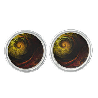 Sunrise Floral Red Abstract Art Silver Plated Cufflinks