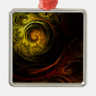Sunrise Floral Red Abstract Art Square Christmas Ornament