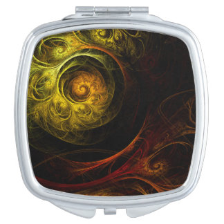 Sunrise Floral Red Abstract Art Square Mirror For Makeup