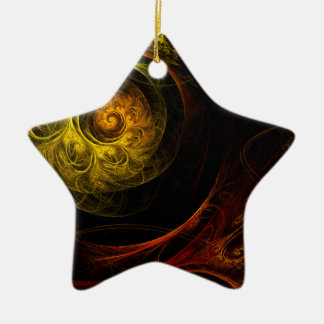 Sunrise Floral Red Abstract Art Star Ornament