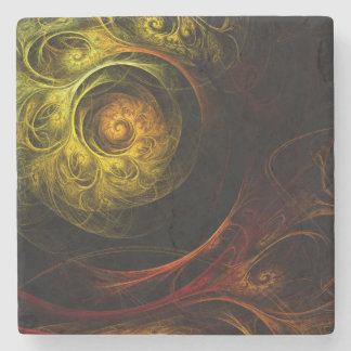 Sunrise Floral Red Abstract Art Stone Coaster