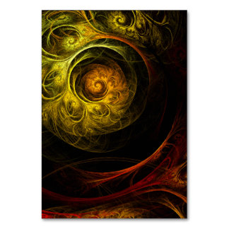 Sunrise Floral Red Abstract Art Table Card