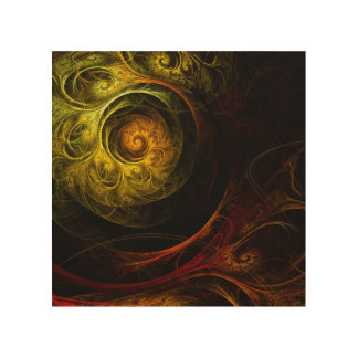 Sunrise Floral Red Abstract Art Wood Wall Art