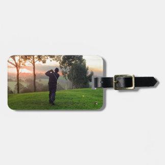 Sunrise Golfer Luggage Tag