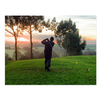 Sunrise Golfer Postcard