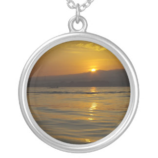 Sunrise in Bali island Round Pendant Necklace