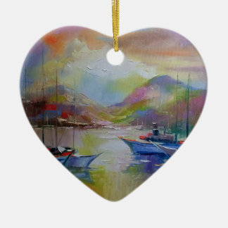 Sunrise in the bay christmas ornament
