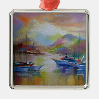 Sunrise in the bay Silver-Colored square decoration